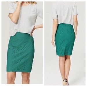 NWT LOFT Lace Pencil Skirt Turquoise/Teal